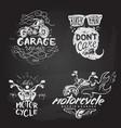 set of vintage motorcycle emblems labels badges vector image vector image