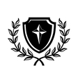 Shield with cross and a laurel wreath icon vector image vector image