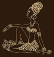 Silhouette of beautiful African girl vector image vector image