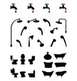 silhouettes bathroom elements vector image