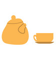 tea kettle and cup on saucer isolated kitchenware vector image