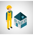 under construction worker with house vector image vector image