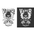 vaper skull in beanie hat print vector image vector image