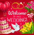 wedding cake red hearts bride and groom rings vector image vector image