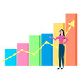 woman broker and growing diagram chart with arrow vector image vector image