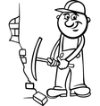 worker with pick coloring page vector image vector image