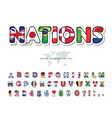 world flags cartoon font paper cutout glossy abc vector image