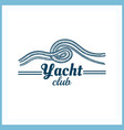 yacht club badge with rope vector image vector image