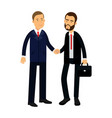 two smiling businessmen characters in suits are vector image