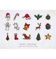 Colorful Vintage Christmas icons set vector image