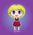 anime cute little cartoon girl with blond short vector image