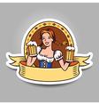 Beer girl sticker vector image