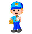 A delivery person delivering a package vector image