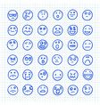 a set emoji icons drawn hand on squared vector image vector image