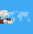 airplane and travel object on world map vector image vector image