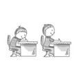 boys sitting at the desk bad and correct pusture vector image