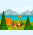 camping or rest in forest or parkland banner vector image