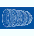 car tires concept rendering 3d vector image