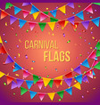 carnival flags card stationery template in red vector image