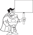 Cartoon super hero holding a sign vector image