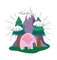 cute elephant pink in the landscape vector image