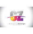 cz c z letter logo design with creative lines and vector image vector image
