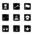 Drug icons set grunge style vector image vector image