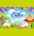 easter egg hunting basket with bunnies and chicks vector image