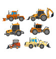excavator trucks and bulldozers for heavy vector image