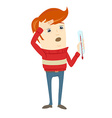 Frustrated hipster character holding a thermometer vector image