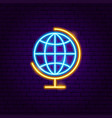 globe geography neon label vector image