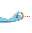 Hand holding key at keyhole Concept in retro vector image vector image