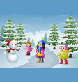 happy kids playing with a snowman in winter vector image