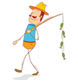 happy lucky fisherman vector image vector image