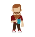 hipster man with beard and mustache vector image vector image