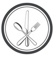 icon plate with fork knife and spoon vector image