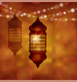 illuminated arabic lamp lantern with string of vector image vector image