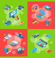 isometric online education icons vector image vector image