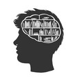 man with books library in brain sketch vector image vector image