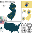 Map of New Jersey vector image vector image
