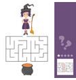maze game for kids with witch lets help this old vector image