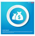 money bag icon abstract blue web sticker button vector image