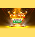 online casino coin cash machine play now register vector image