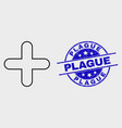 outline cross icon and grunge plague stamp vector image vector image