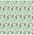pattern flower pink rose green background spring vector image