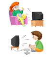 People watching TV and playing games vector image vector image