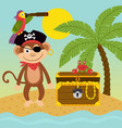 pirate monkey on island near treasure chest vector image vector image