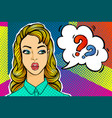 question sing woman face in pop art style vector image vector image