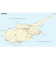 road map mediterranean island cyprus vector image vector image