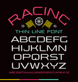 Sanserif font in thin line style